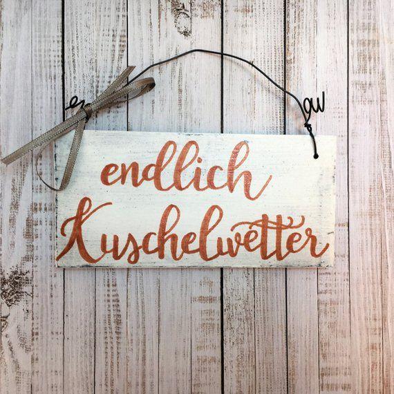"""Holzschild handbemalt """"endlich Kuschelwetter"""" Türschild Willkommen Herbst Vintage herbstlich Schild Schriftzug Spruch Wanddeko Geschenk"""