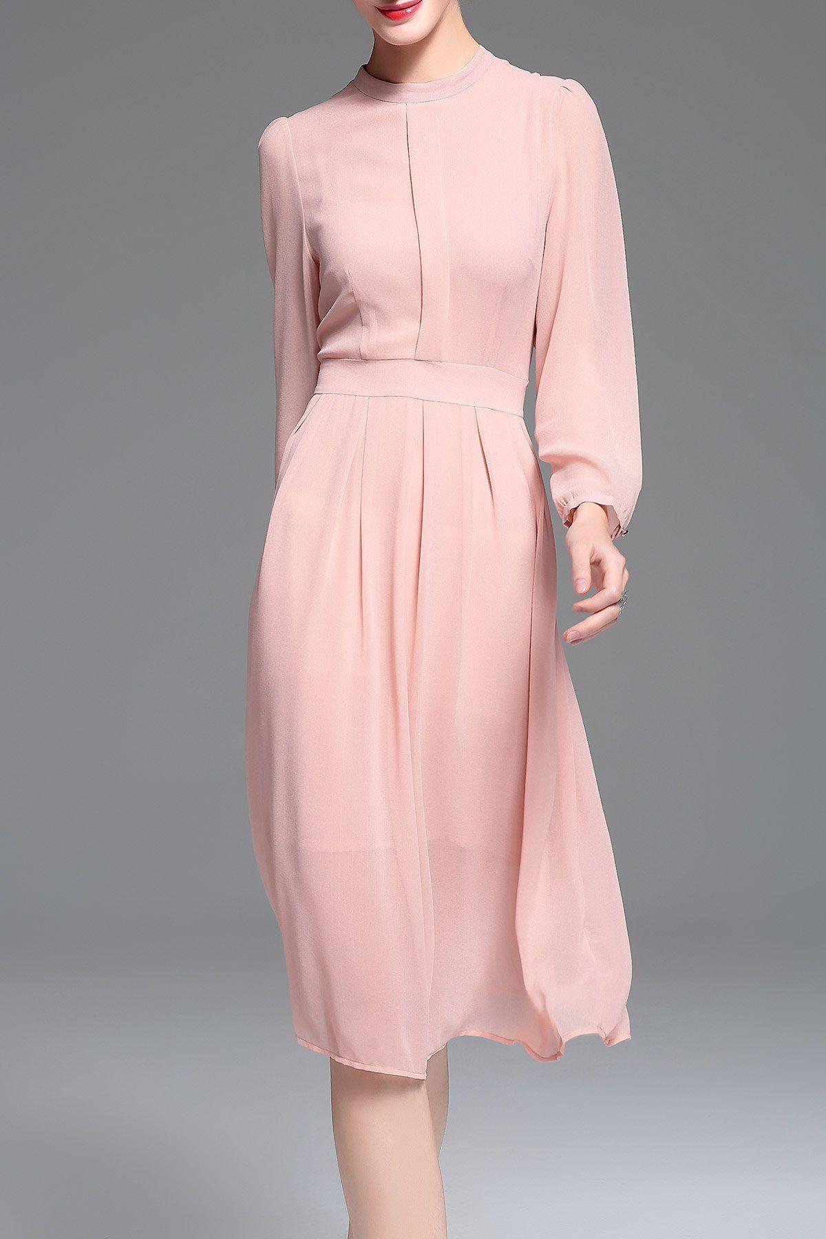 68ca3f224b95 Zakejas Pink Chiffon Long Sleeve Midi Dress