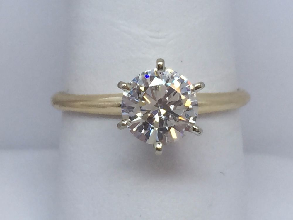 14k yellow gold diamonique cubic zirconia qvc la s ring 1 25ct