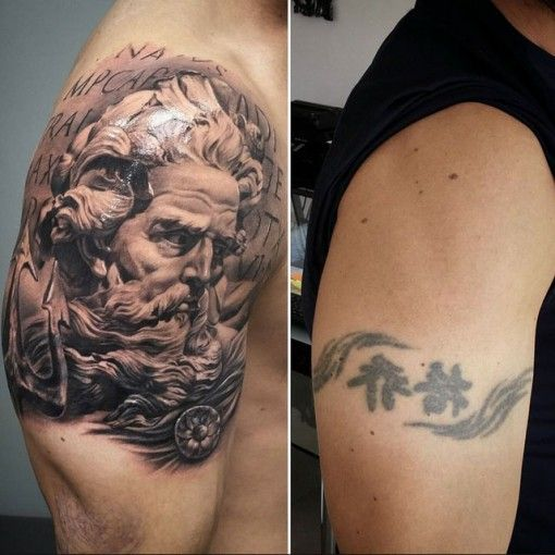 Shoulder tattoo men cover up tattoos pinterest for Tattoo ideas men shoulder