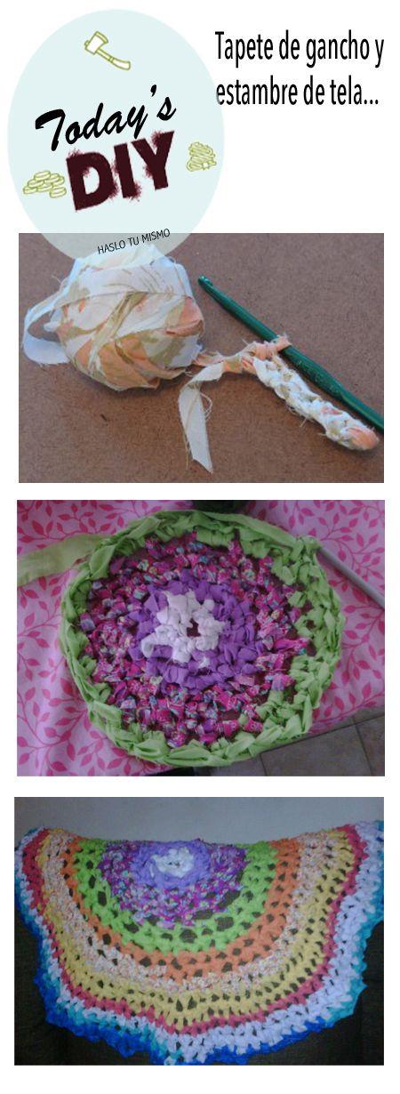 tapete tejido en gancho con estambre de tela  http://www.facebook.com/Serforaneo
