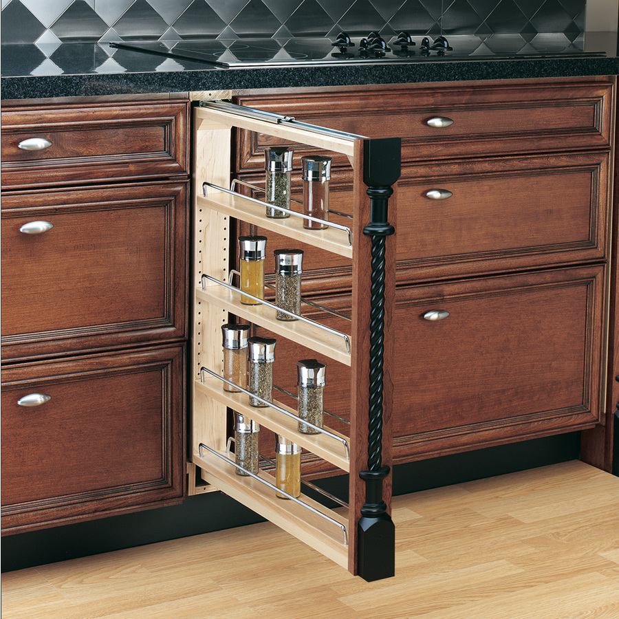 Rev A Shelf 3 In W X 30 In 4 Tier Mounted Wood Spice Rack At Lowes