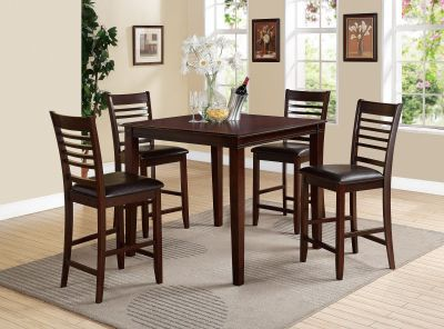 The Pasha 5Pc Pack Counter Height Set offers clean lines with a versatility that enhance any dining area. This lovely casual table features a Smooth Square Top and square tapered legs. The four matching armless chairs include comfortable padded seat cushion in Espresso Faux Leather wooden backrest with slatted design and square tapered legs. All carefully crafted with selected woods and veneers in warm Espresso finish. (Assembly Required)