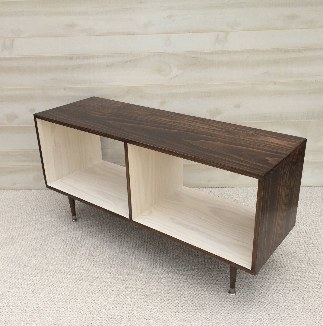 Mid century modern record vinyl cabinet media table tv stand