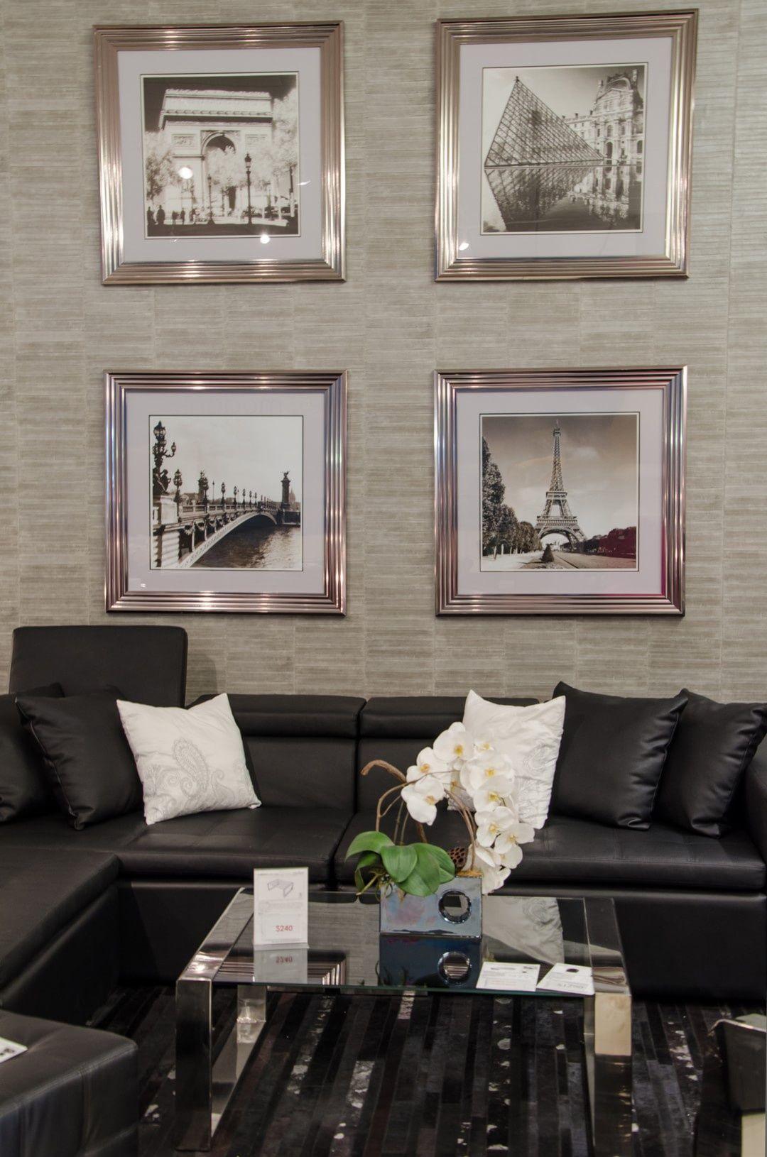 Awe Inspiring Bergamo Sectional Leather Modern Sofa Black With Artwork Evergreenethics Interior Chair Design Evergreenethicsorg