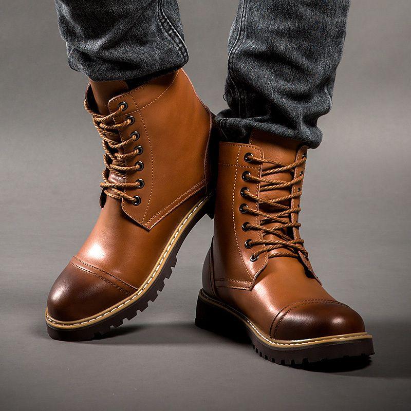 205282aa Encontrar Más Botas Información acerca de Aleader cuero genuino botas de invierno  hombre nuevo invierno Martin