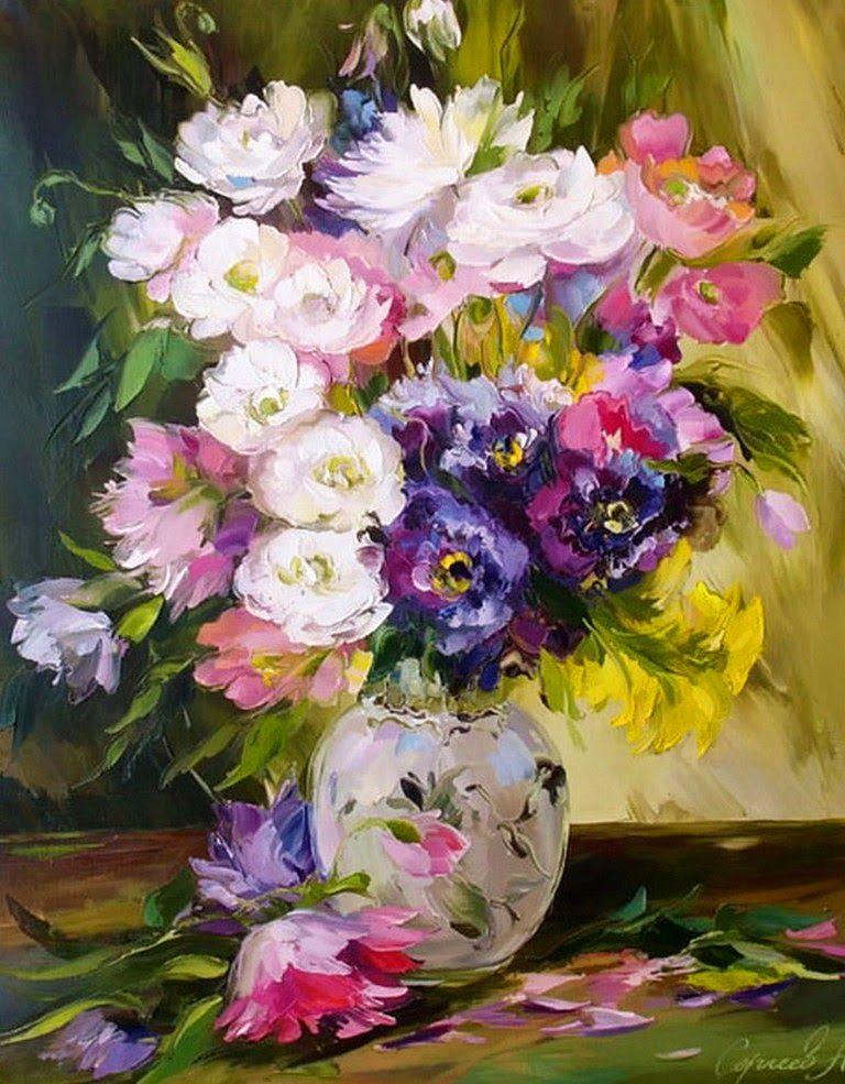 Pinturas Decorativas De Flores En Oleo Y Espatula Flores Pintadas Pintura Floral Flores