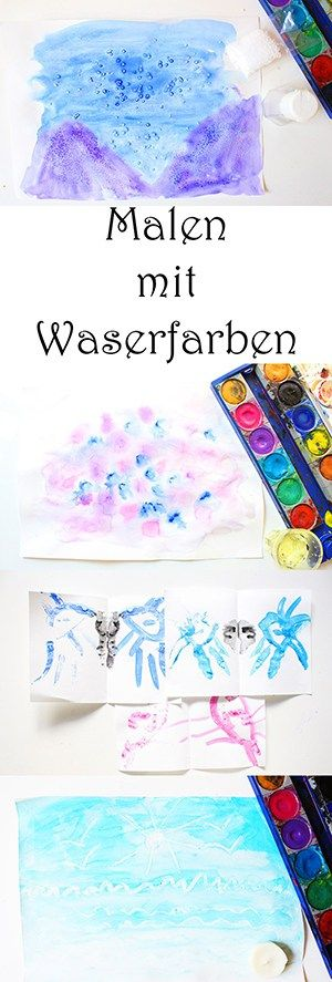 5 ideen zum malen mit wasserfarben f r kinder video mama kreativ wasserfarben bilder. Black Bedroom Furniture Sets. Home Design Ideas