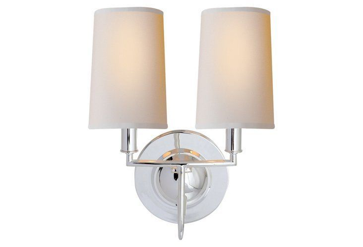 Elkins Double Sonce Polished Silver Visual Comfort Lighting Sconces Double Wall Sconce