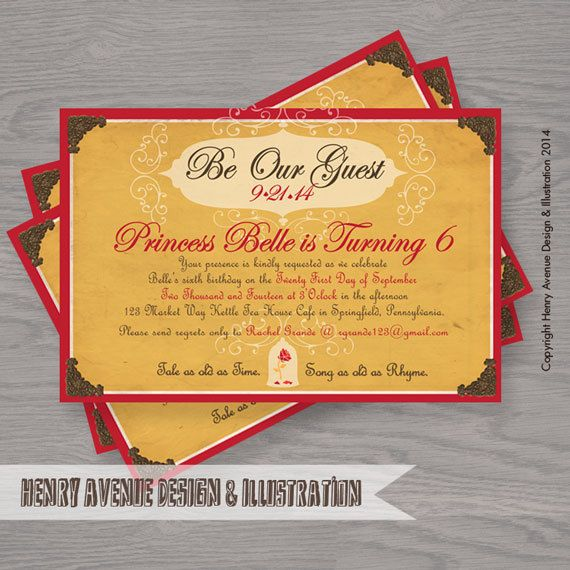 Be Our Guest Princess Belle Invitation Disney Inspired By Artnv