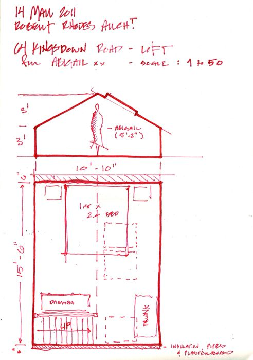 Nice hand drawn sketch for a Loft Conversion in North London : Robert Rhodes Architecture London
