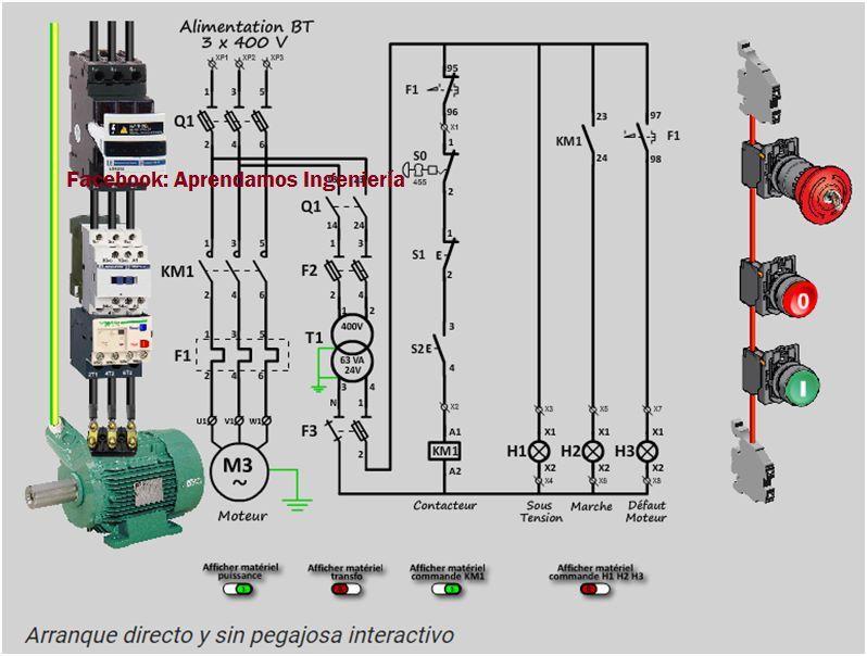 Diagrama Arranque Directo Circuito Potencia  Control Con
