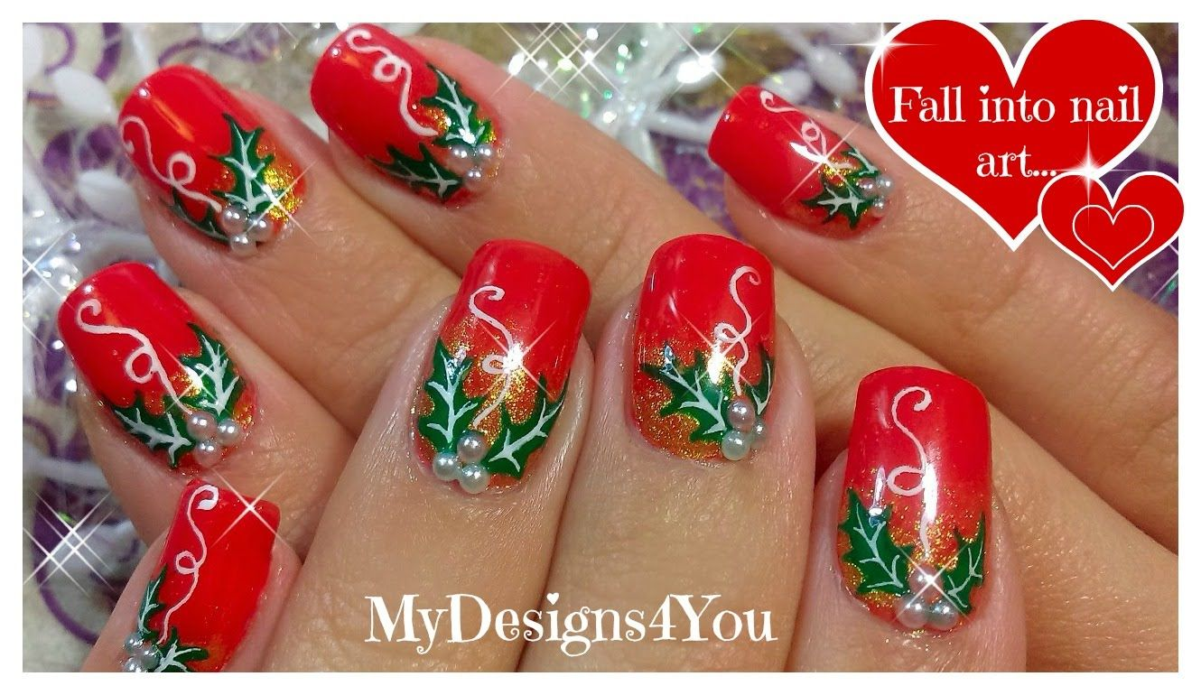 Traditional Christmas Nail Art Design | Red Holly ...