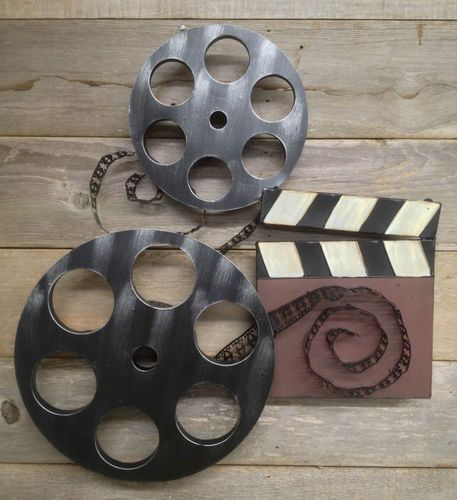 Large Home Cinema Theatre Movie Reels Wall Plaque Sign TV Game