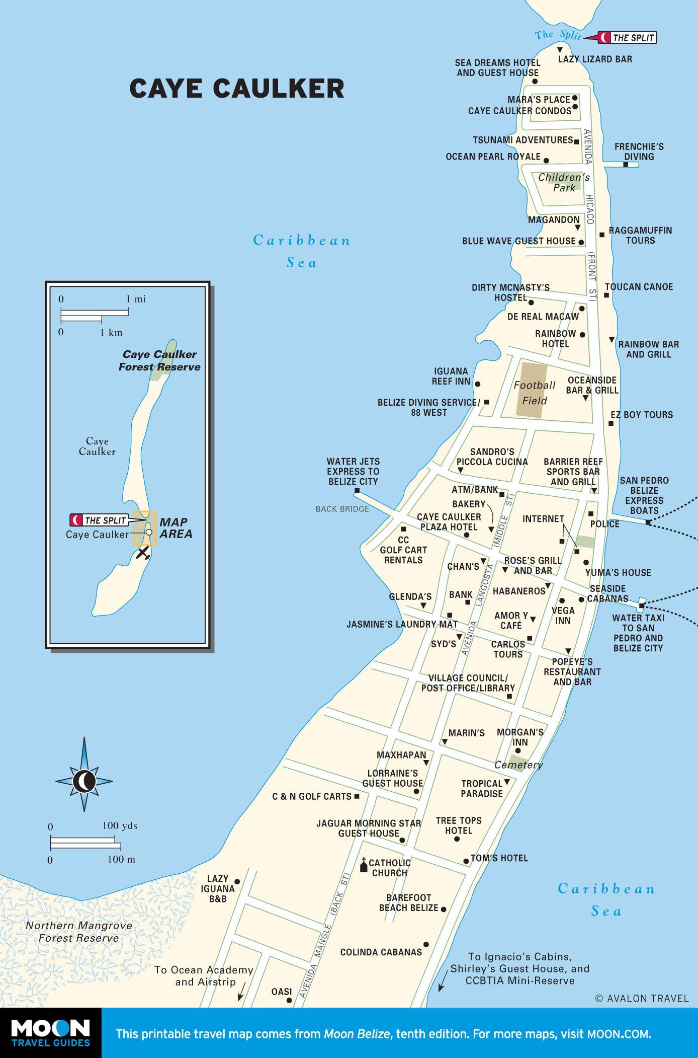 Printable Travel Maps Of Belize Caye Caulker Belize And Central - Belize tourist map