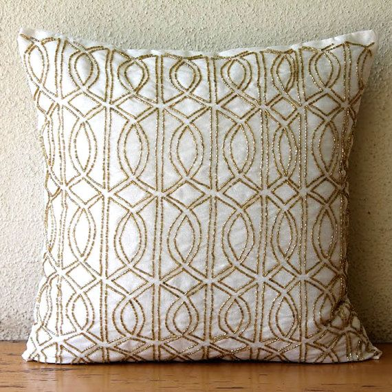 """Luxury Ivory Decorative Pillows Cover 16""""x16"""" Silk Pillows Covers"""