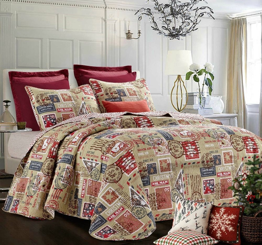 Christmas Quilt Set Holiday Decor King Size Bedding North Pole 3 Pc ...