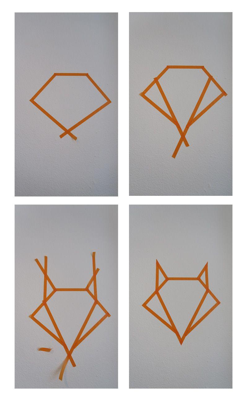 etapes fox masking tape diy deco chambre diy d co. Black Bedroom Furniture Sets. Home Design Ideas