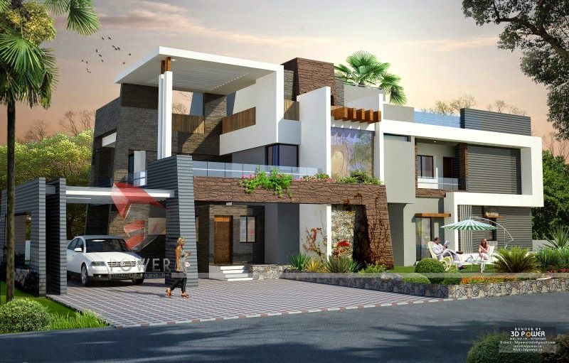 We are expert in designing 3d ultra modern home designs for Modern house front view design