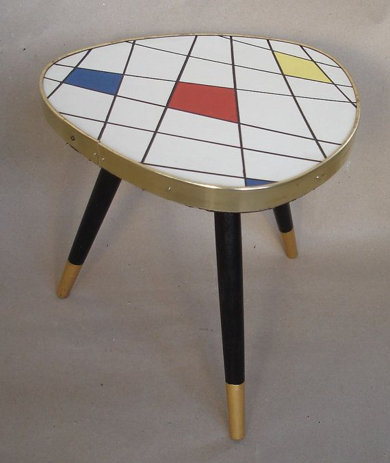 Vintage Small Triangle Plant Table White Mondrian Style