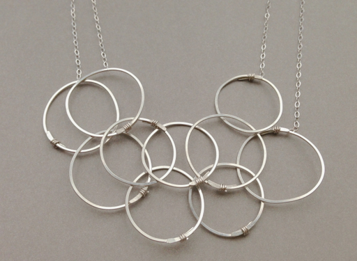 Handmade Silver Layered Circles Necklace