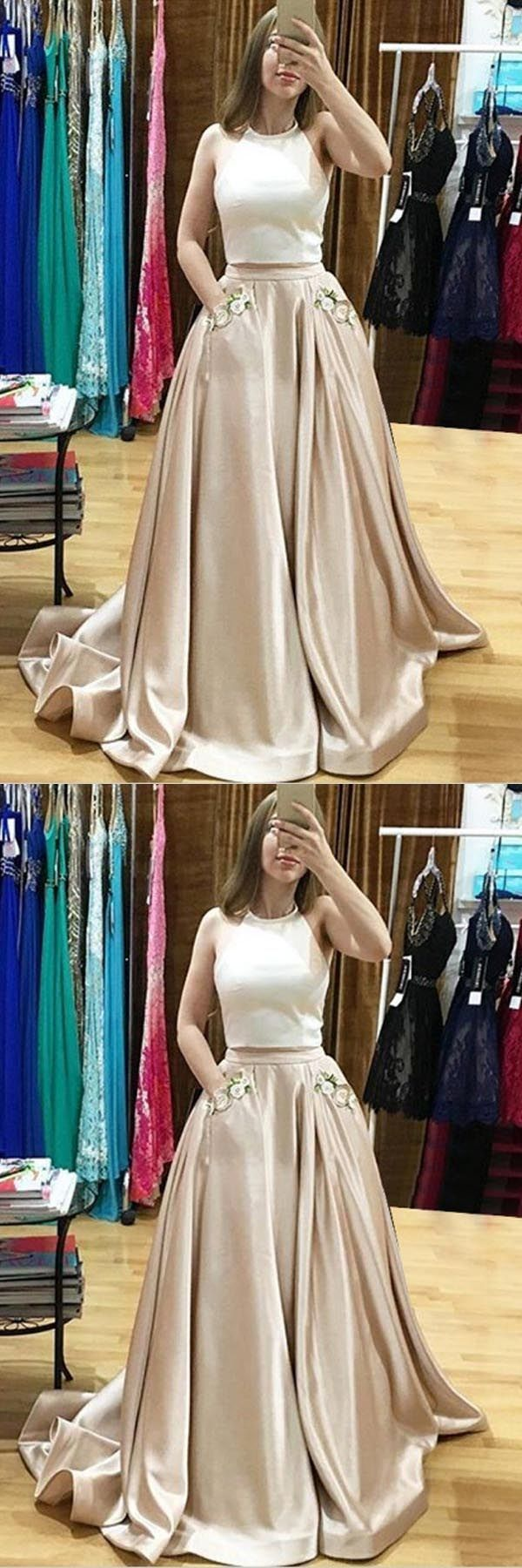 Customized easy prom dresses two piece halter sweep train prom dress