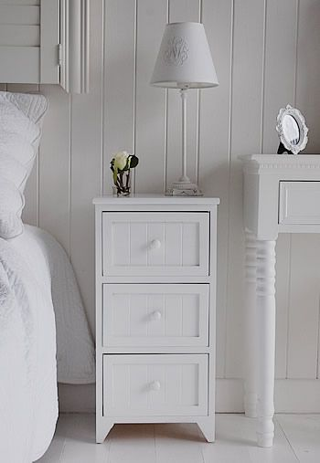 Maine white wooden bedside table with 3 drawers for storage ...