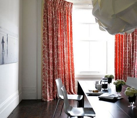 Living room - gray with red curtains | Damask Curtains/Patterns ...