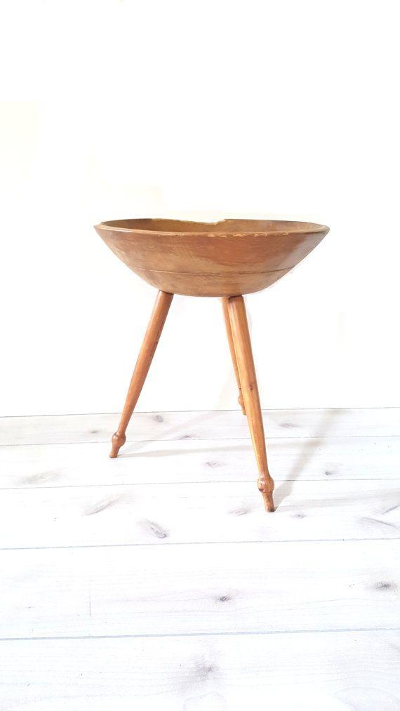 Antique Wood Dough Bowl On Stand Rare Primitive Hand