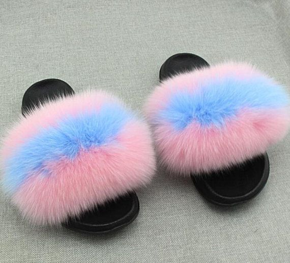 Slippers SlidesFluffy Fox Gumball Real Fur H9YeDbE2WI