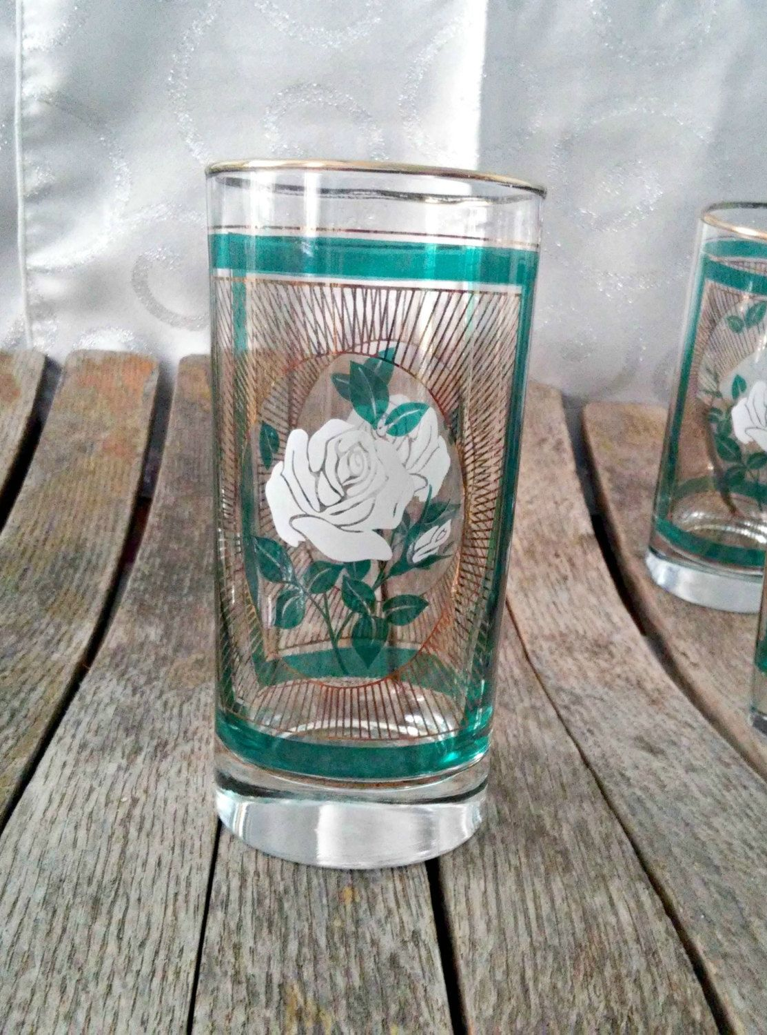 Drinking Glasses Designs 8 Drinking Glasses Tall White Rose Design For Water