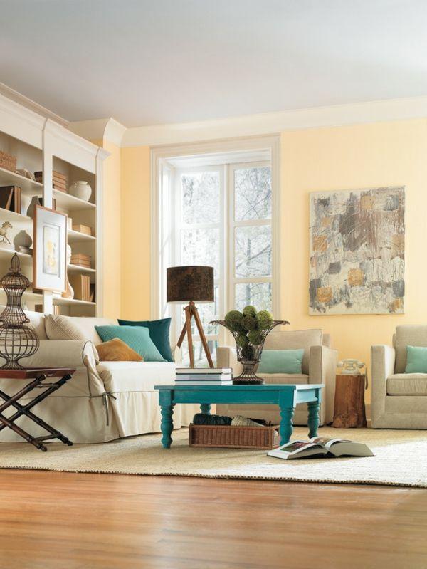 Gelbe Wandfarbe Fürs Wohnzimmer   Wohnzimmer Streichen U2013 106 Inspirierende  Ideen
