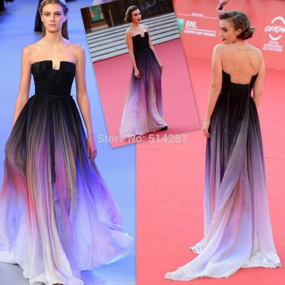 Vestido De Festa Elie Saab 2014 Long Gradient Color Chiffon Evening ...