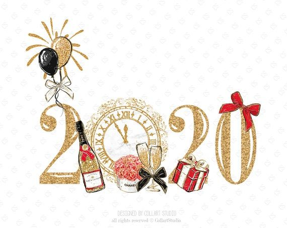 Photo of New Year Clip Art Fashion Illustration, Party clipart, Celebration Clipart, Birthday Clipart Gold Glitter Planner Stickers, Champagne, 2020