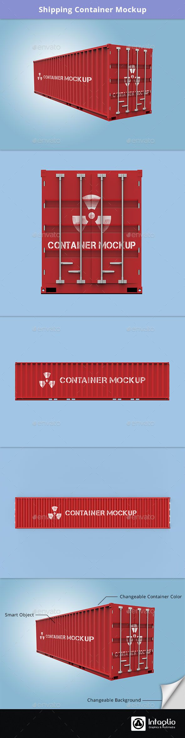 Shipping Container Mockup  — PSD Template #top #left #rectangular #shipping…