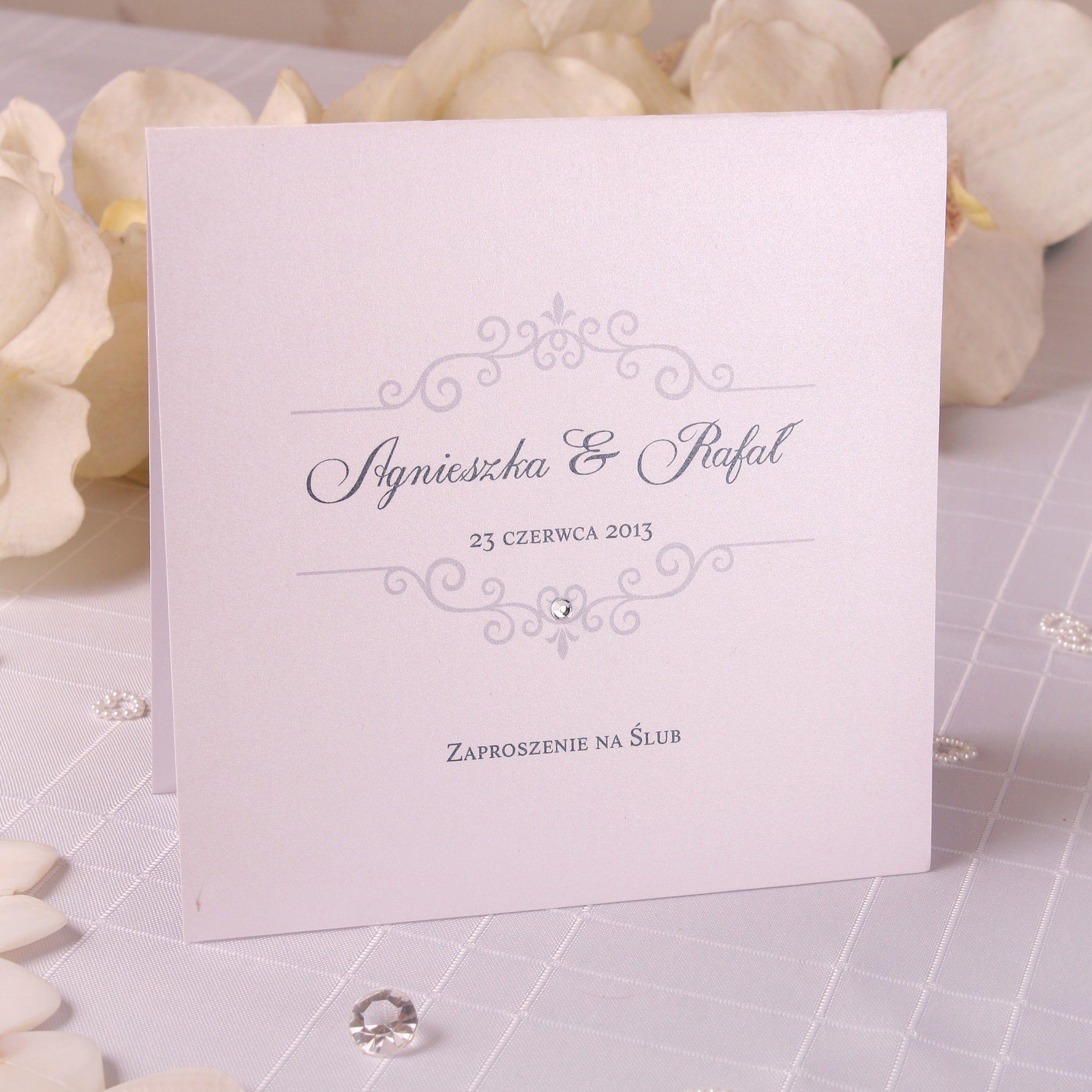 Zaproszenie ślubne Z Perełką Zaproszenia Pinterest Weddings