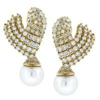 18K Yellow Gold Diamond Cluster Earrings with South Sea Pearl Drops