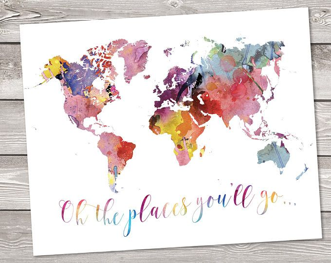 World map printable art wanderlust floral watercolor world map world map printable art wanderlust floral watercolor world map geography print quote travel decor art rainbow map art the places youll go pinterest gumiabroncs