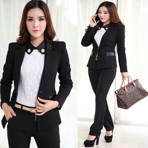 68915f8d3 Cheap 2015 nueva ropa de trabajo de la mujer moda oficina pantalones trajes  para mujeres conjunto chaqueta Formal negro blanco para las para mujer Plus  Size ...