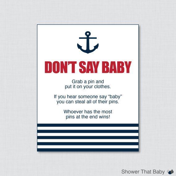Nautical Dont Say Baby Baby Shower Game Printable – Dont Say Baby Sign Diaper Pin Clothes Pin Game