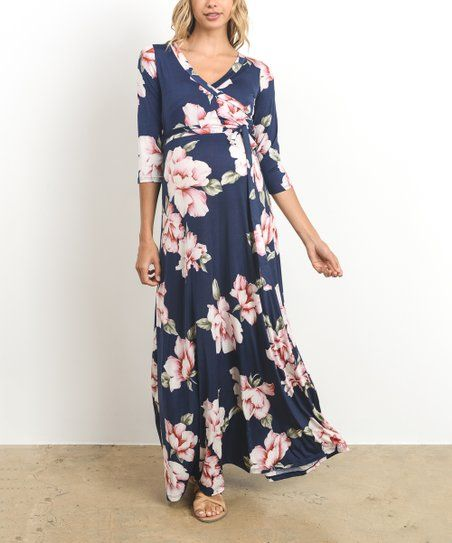 e0116266a03 Hello Miz Maternity Navy   Pink Floral Surplice-Top Maternity Nursing Maxi  Dress