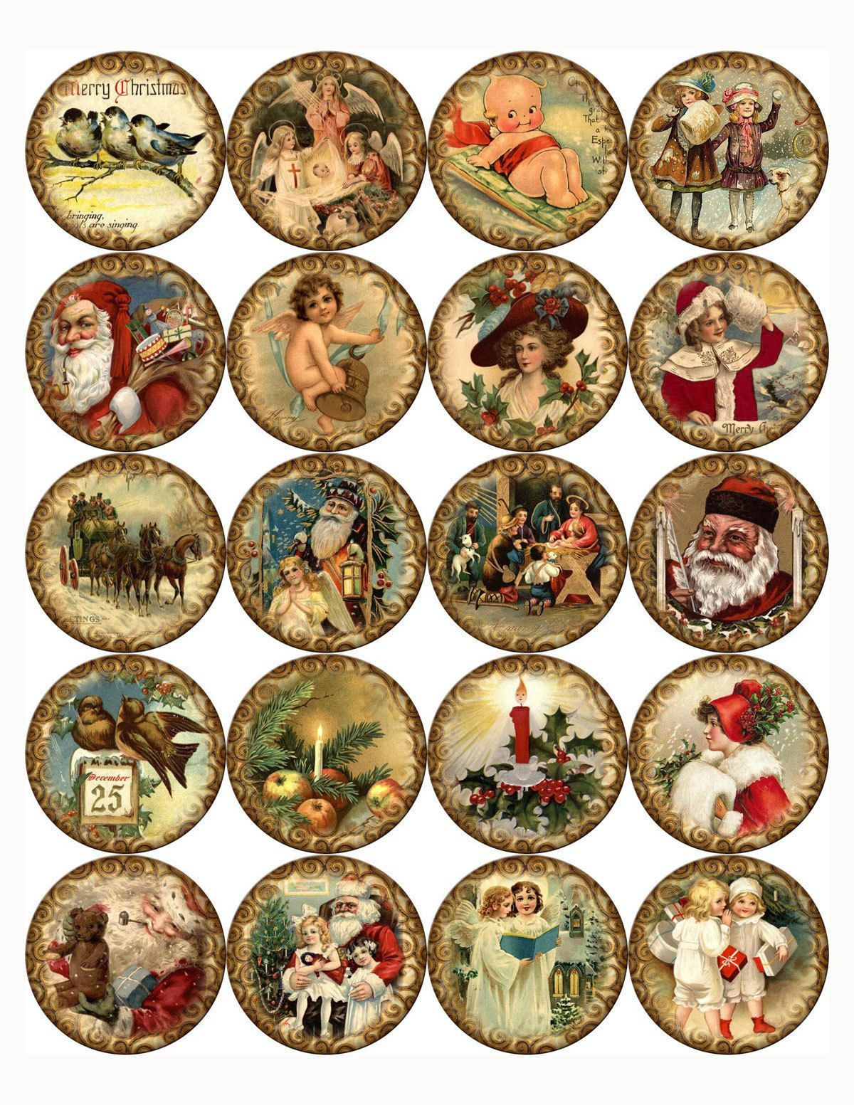 Christmas Round Stickers 20 2 24 1 5 Scrap Booking Crafts Glossy Christmas Prints Christmas Stickers Vintage Christmas