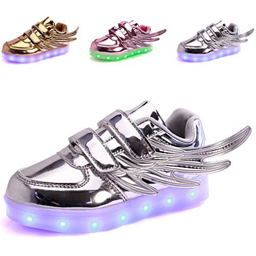 CIOR Kids Boy and Girl's 11 Color Led Sneakers Light Up Flashing Shoes,104,08,35, 3 M US Little Kid, 04Silver * Read more reviews of the product by visiting the link on the image.