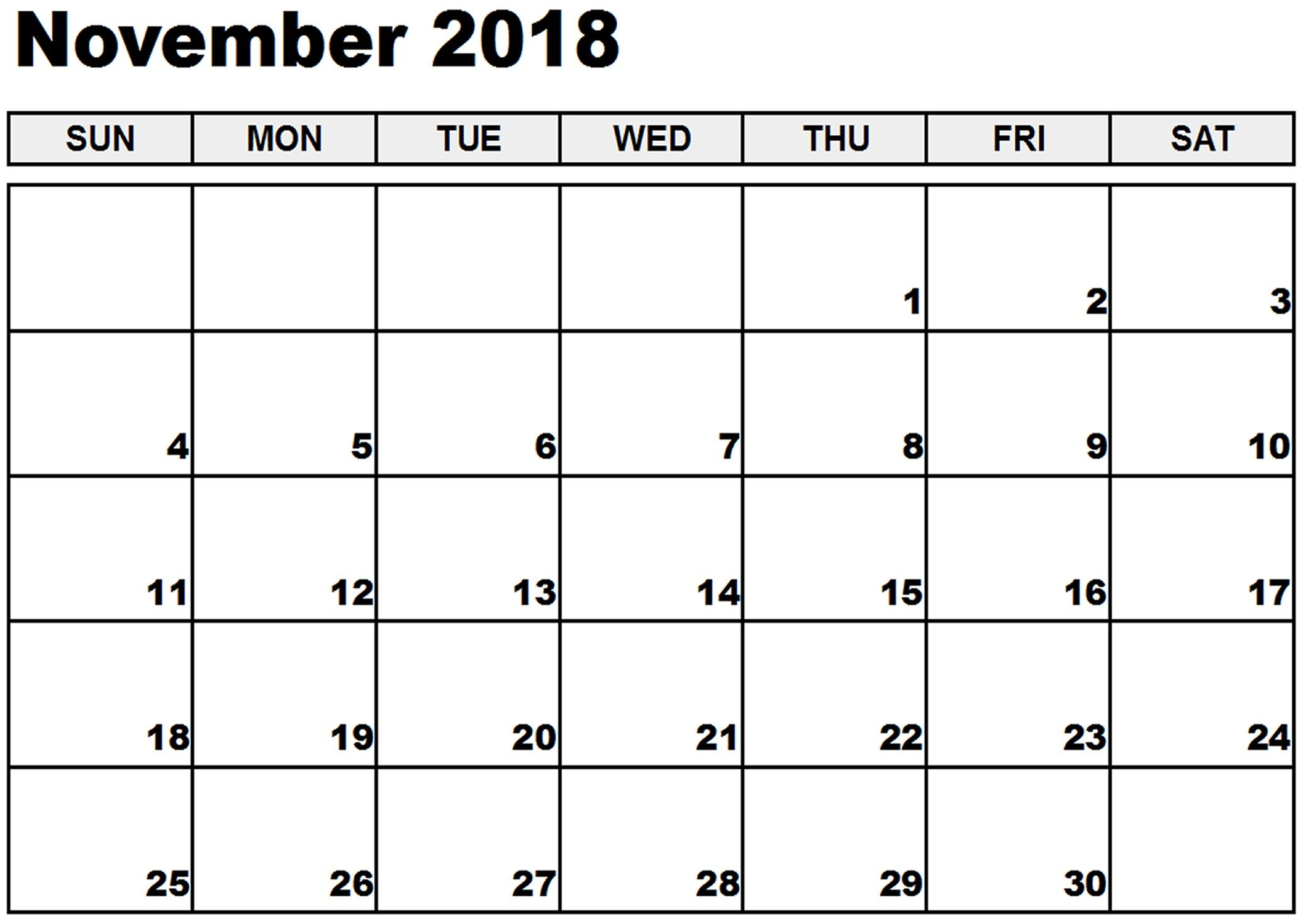 photograph regarding Printable Nov Calendar named Printable November 2018 Calendar Absolutely free Down load November