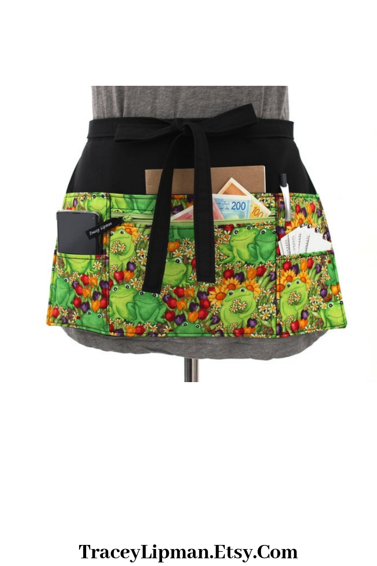 Frog Apron With Pockets Toad For Teacher Appreciation Etsy Half Fashion