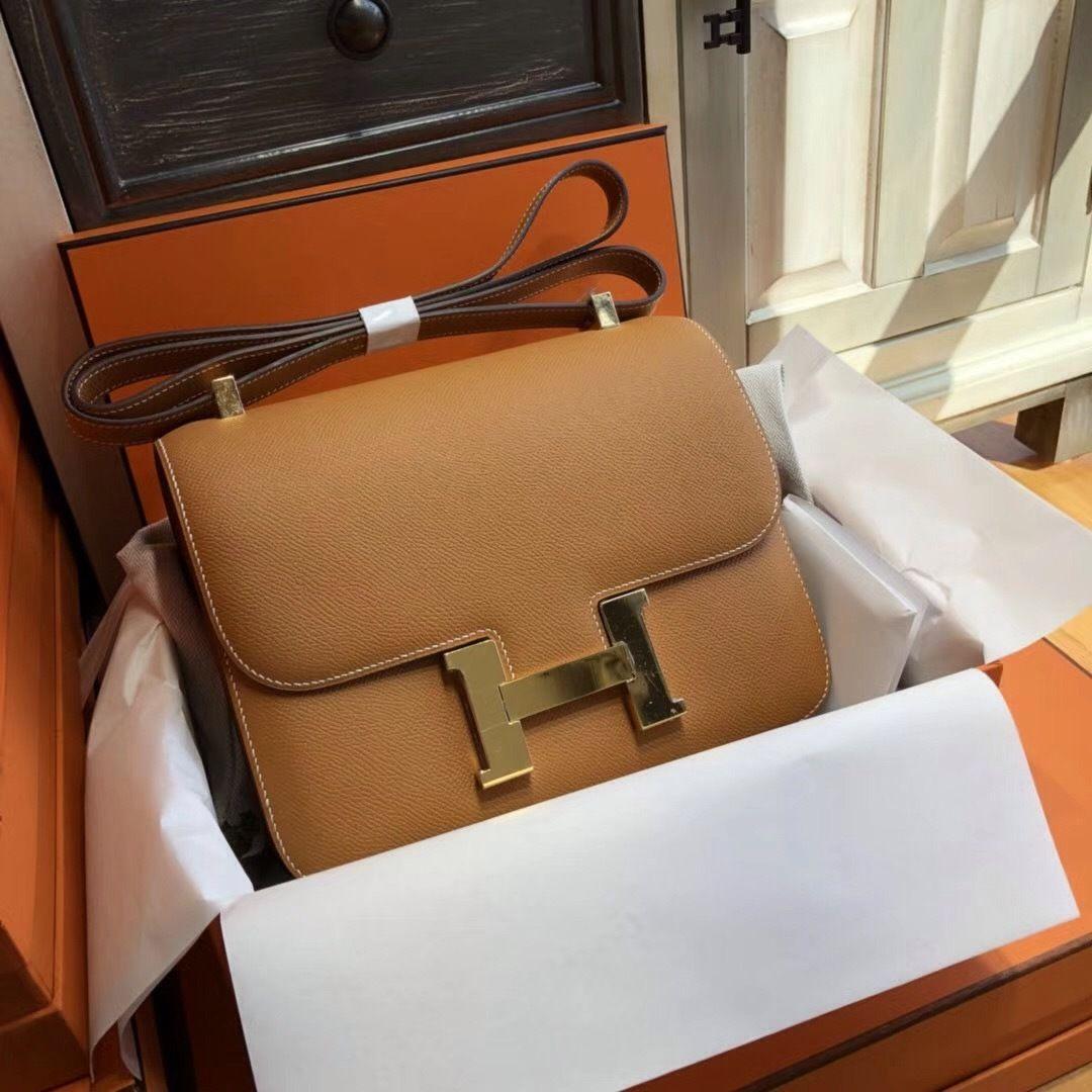 Hermes 1H Toffee Constance 24 Epsom bag with Gold Hardwares