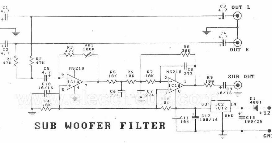 subwoofer filter circuit diagram, subwoofer filter kit
