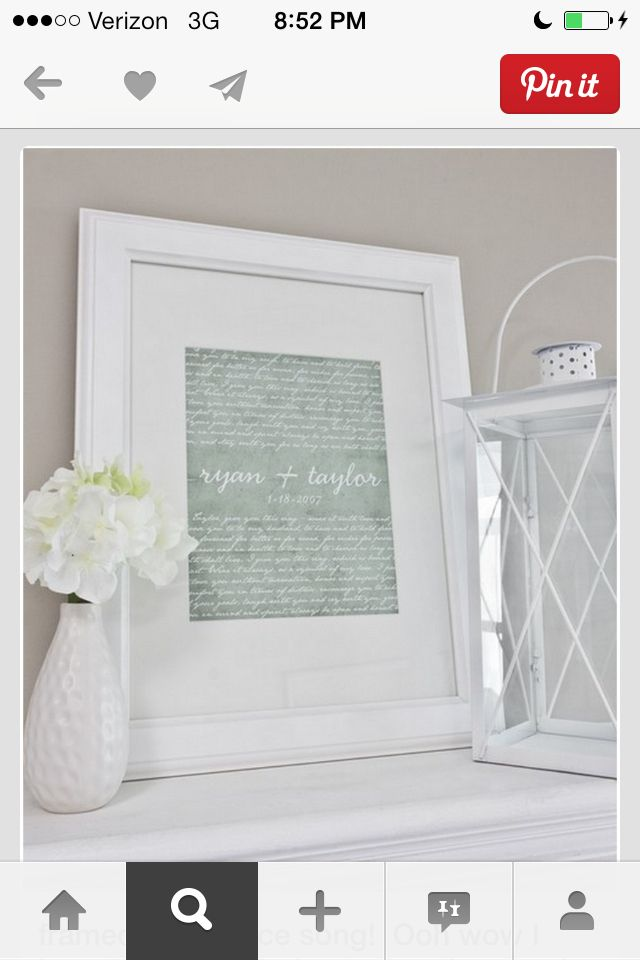 First dance lyrics framed