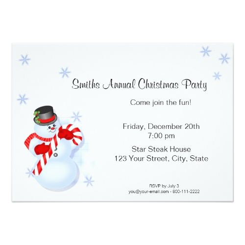 Whimsical Snowman Christmas Party Invitations 2017 Christmas Card - holiday party invitation