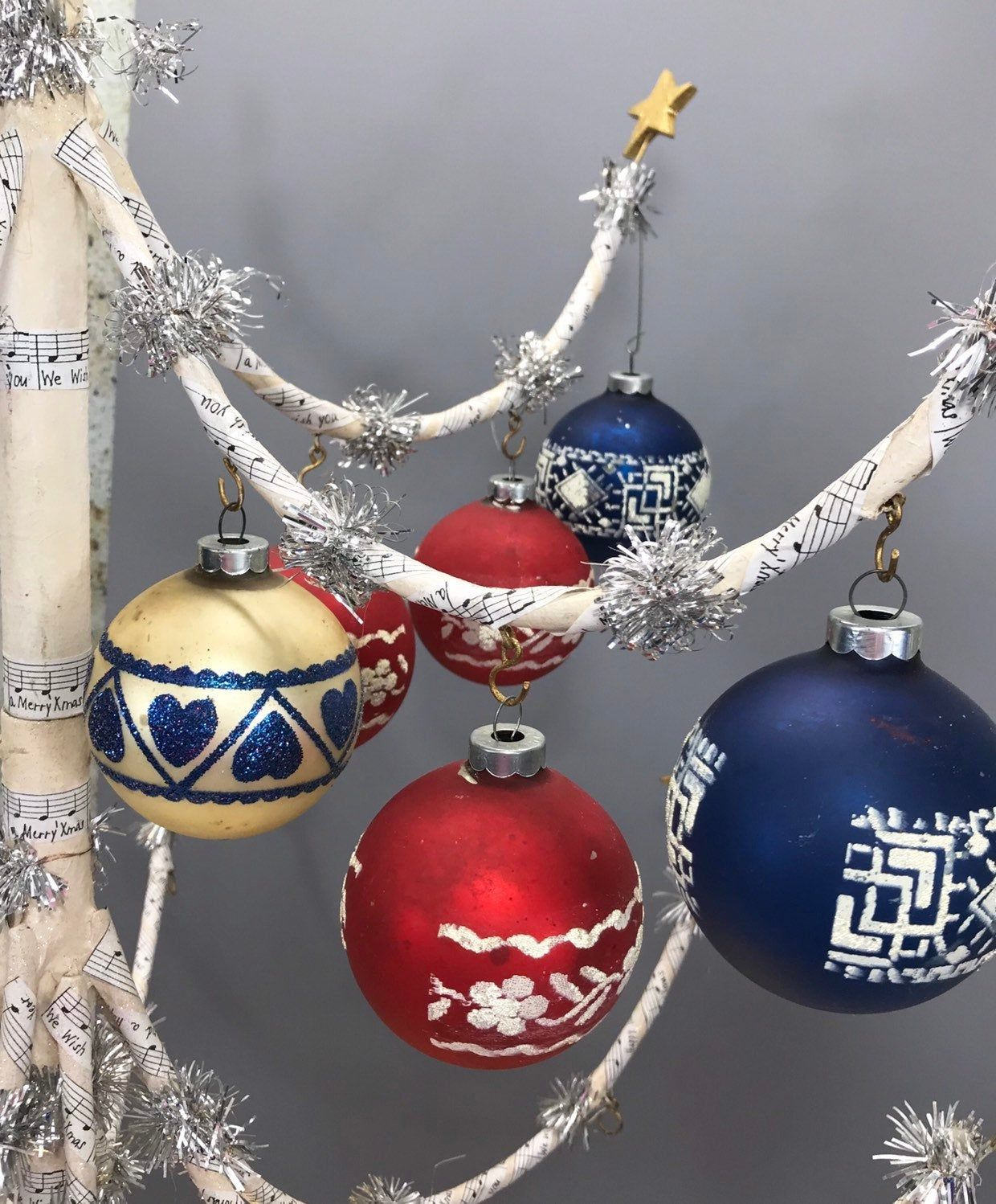 Vintage Christmas Ornaments Made In Usa Red White Blue Tree Etsy Holiday Tree Decorations How To Make Ornaments Vintage Christmas Ornaments